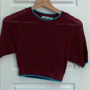 Kimchi Blue mesh sweater crop top